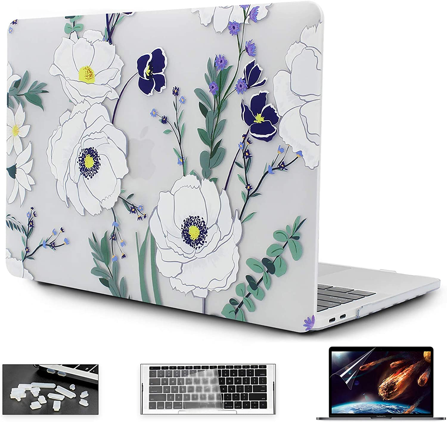 OneGET MacBook Air13 Inch Case 2018 Laptop Case MacBook Air13 inch A1932 Computer Case MacBook Air13 Inch Hard Shell Fashion MacBook Air13 Case Whith Touch ID Flowers (F1)