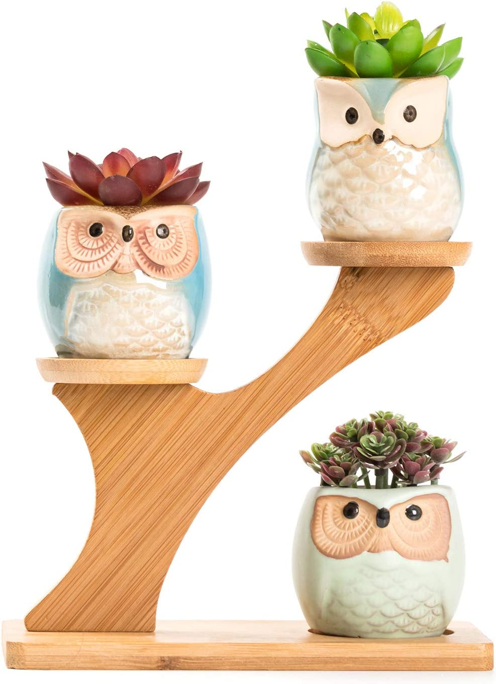 LukieJac Cute Owl Succulent Pots with Bamboo Saucers Stand Holder,Handmade Animal Planter for Cactus&Desk Plants-Owl Decor Gift for Office Desk  Bookshelf  Windowsill  Tabletop-Plants Not Included