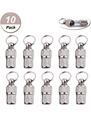 Pizies 10 Pack Mini Anti Lost Dog Cat ID Tag Stainless Steel Pets Address Name Label Barrel Tube Collar Pets Puppy ID Tube