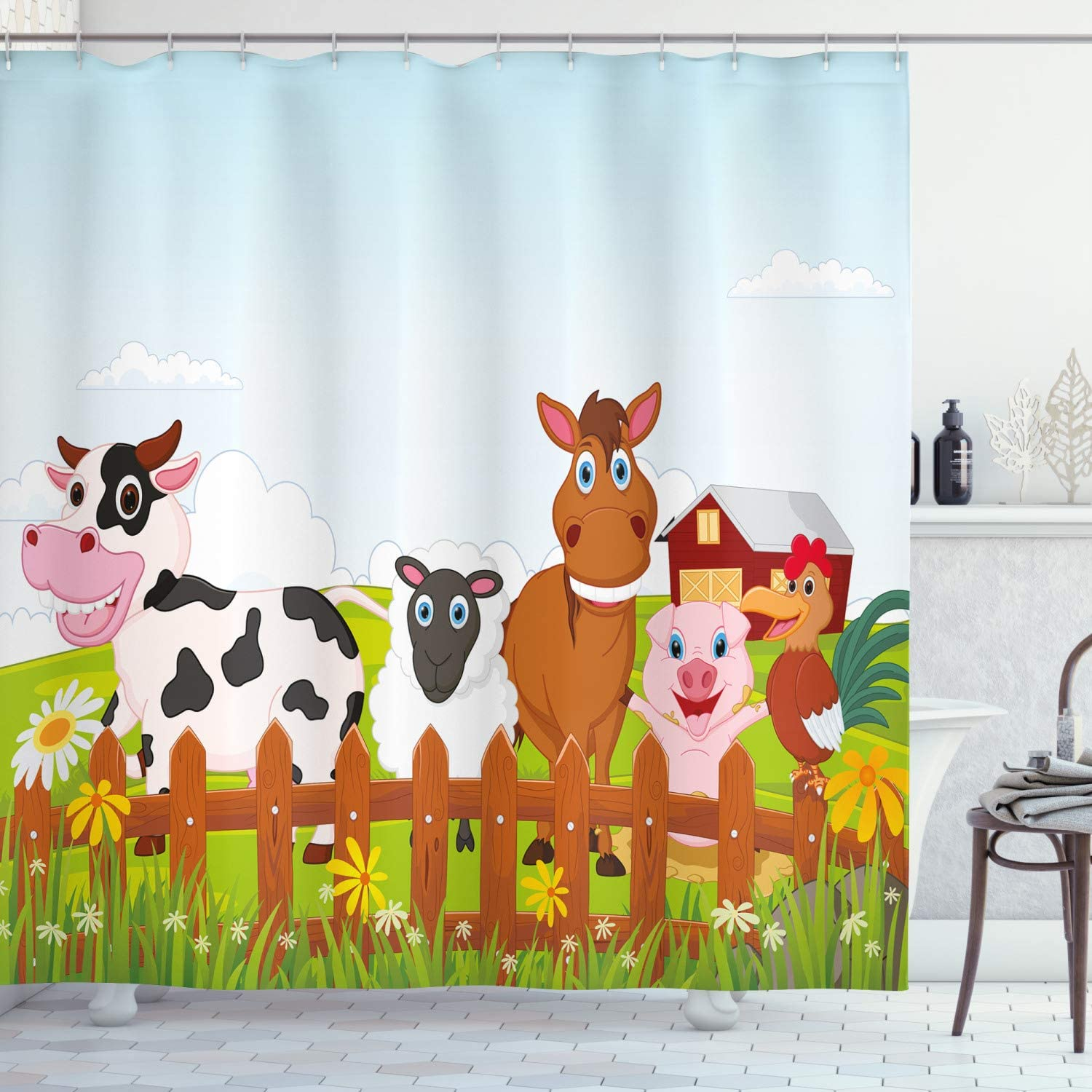 """Ambesonne Animal Shower Curtain, Farm Creatures with Cow Horse Goat Pig and Chicken by The Fences Kids Cartoon, Cloth Fabric Bathroom Decor Set with Hooks, 70"""" Long, Pale Brown"""
