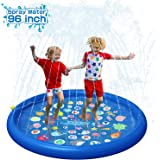 """QPAU Inflatable Splash Pad Sprinkler for Kids, Sprays Up to 96 inch, Baby Kids Pool for Learning, Inflatable Water Toys, 60"""""""
