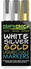 Crafty Croc Metallic Chalk Markers, Gold Silver White - 3 Pack, Medium Tip 6mm, Wet Erase for Accent Details