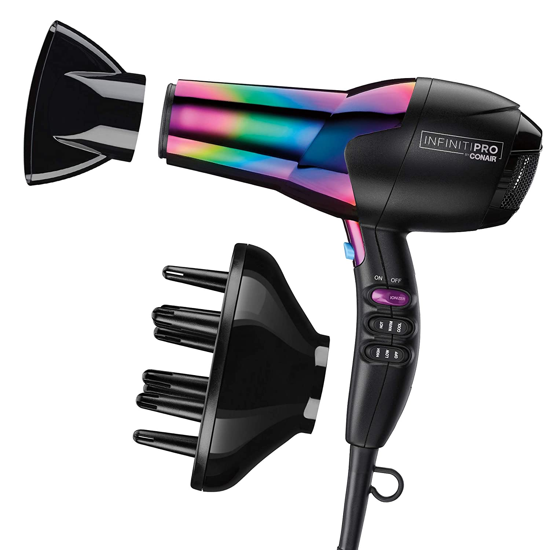 Conair INFINITIPRO 1875 Watt Ion Choice Hair Dryer, Rainbow Chrome Finish, Full Size: Beauty