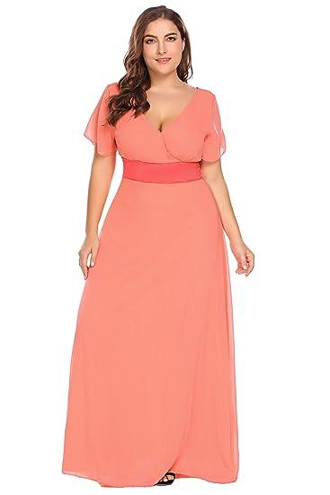 Zeagoo Womens Plus Size Chiffon V Neck Short Sleeve Maxi Formal Dresses  Party Dress