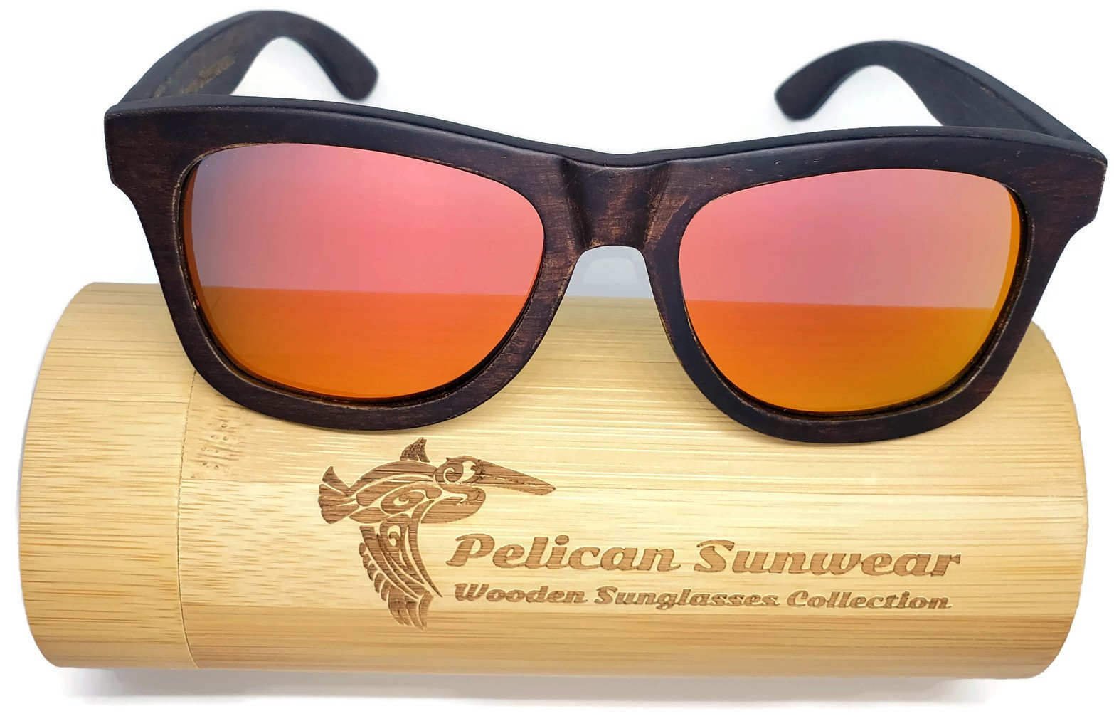 Wooden Polarized Sunglasses - Handmade Solid Real Dumu Wood Wayfarer Style w/Bamboo Case - 100% UV Protection - for Men and Women by Pelican Sunwear (brown, red)