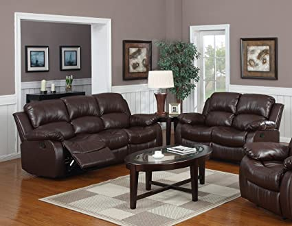 2 Pc Recliner Sofa Set - Bonded Leather (Espresso)