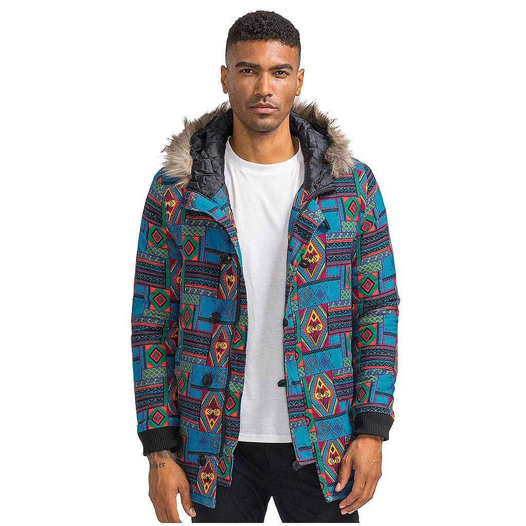 wuliLINL Mens Floral Print Hooded Warm Winter Thicken Cotton-Padded Parkas Long Oversize Coats(Blue,L) by wuliLINL