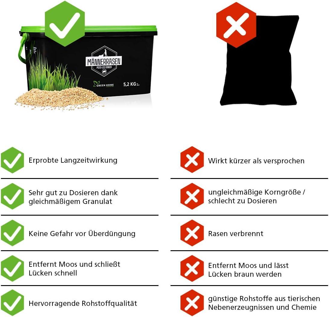 Made in Germany Moos-los Rasen mit starker Wirkung 5,2kg Rasend/ünger gegen Unkraut und Moosr GREEN HOME LOVE NATURE/®️ Moos-los Rasend/ünger Gebinde 100/% recycelt