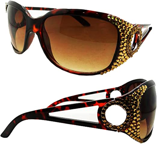 : Gold Crystal Covered Sunglasses with Brown Lens