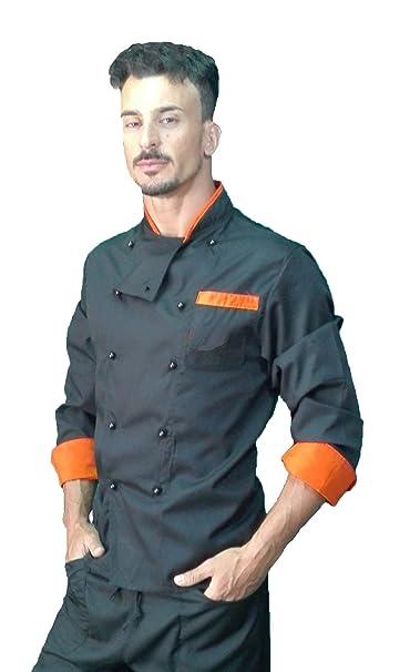 Chaqueta de Chef, para Hombre, Camisa de Cocinero, Chaqueta de cosina, Negro