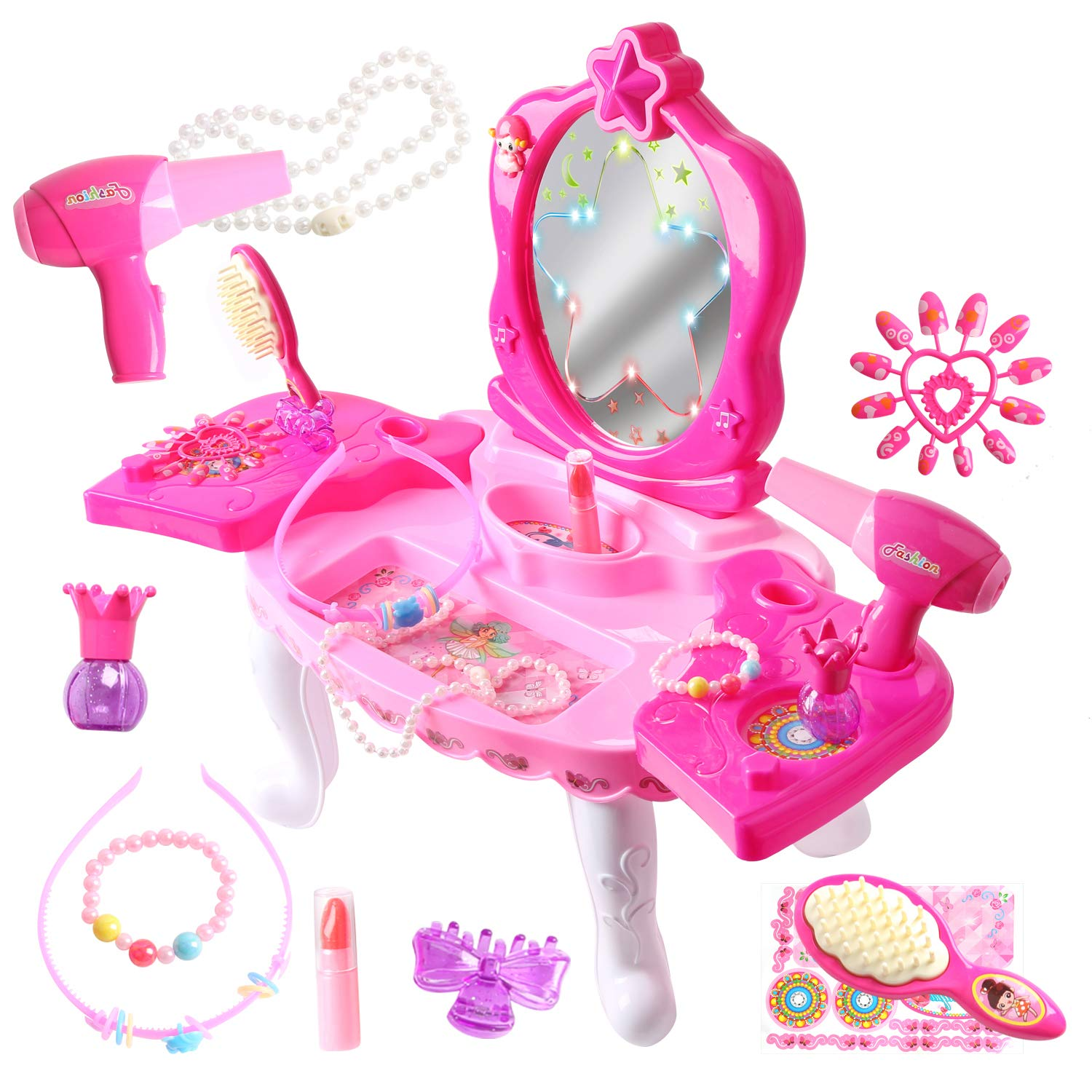 10 Pieces Little Girls Fairy Princess 19.3'' Toy Dresser Table with Light and Music Pretend Play Dress-up Beauty Salon Vanity Playset with Working Hair Dryer(Pink-8001B-1)