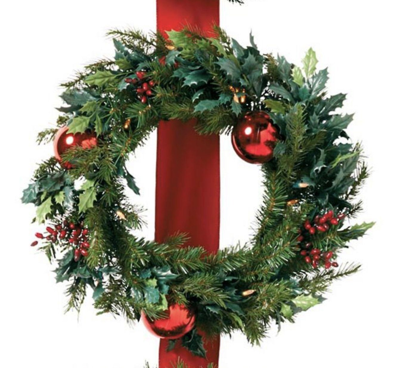 3 Cordless Holly and Berry Wreaths on Ribbon Door Christmas Decoration
