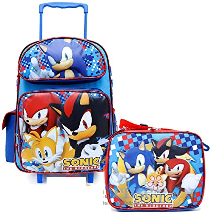 358ee1b8be7 Image Unavailable. Image not available for. Color  Sonic The Hedgehog  16 quot  Large School Roller Backpack Lunch Bag ...