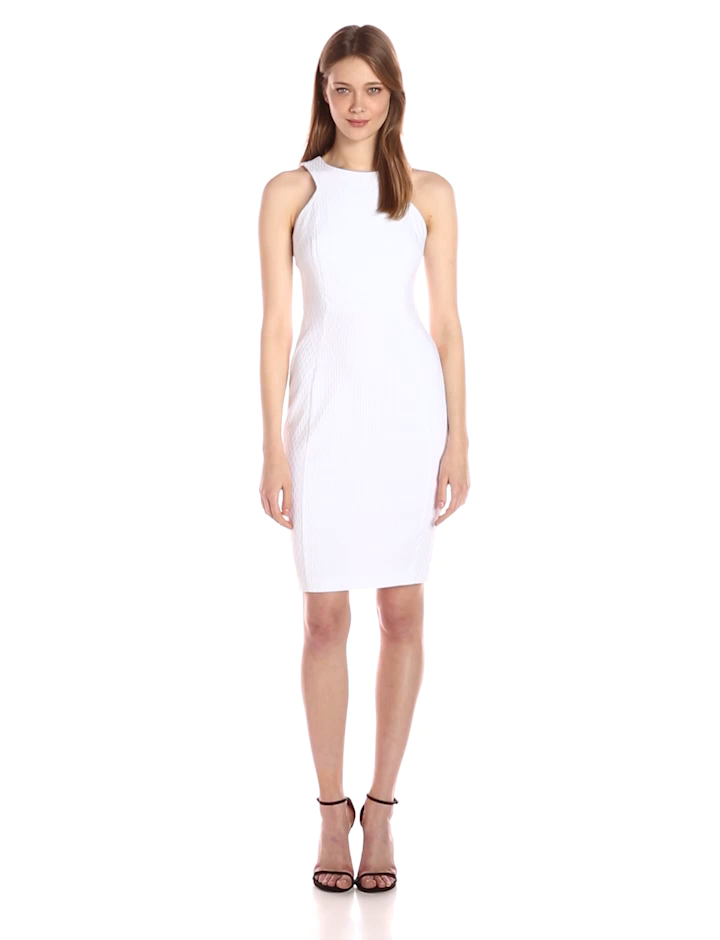 Calvin Klein Women's Cut in Armhole Textured Sheath Dress