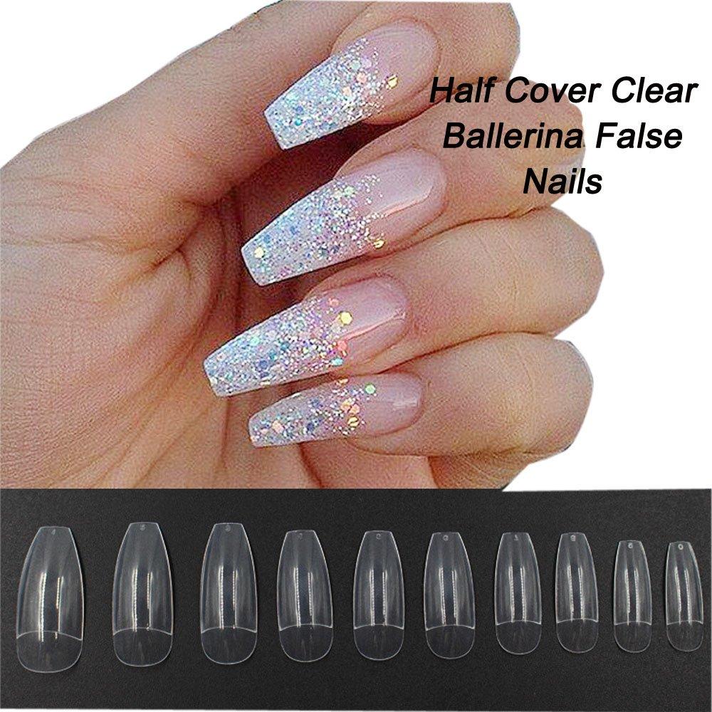 Amazon.com: Coffin Nails 500pcs Half Cover Acrylic False Nail Tips ...