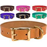 BronzeDog Basic Classic Handmade Genuine Leather Dog Collar, Buckle Brass Leather Collar For Dogs, Puppy Collar Small Medium Large, Pink Red Black Brown Purple Green