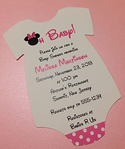 Amazon set of 10 pink minnie mouse baby shower invitations set of 10 pink minnie mouse baby shower invitations all wording customized for baby filmwisefo
