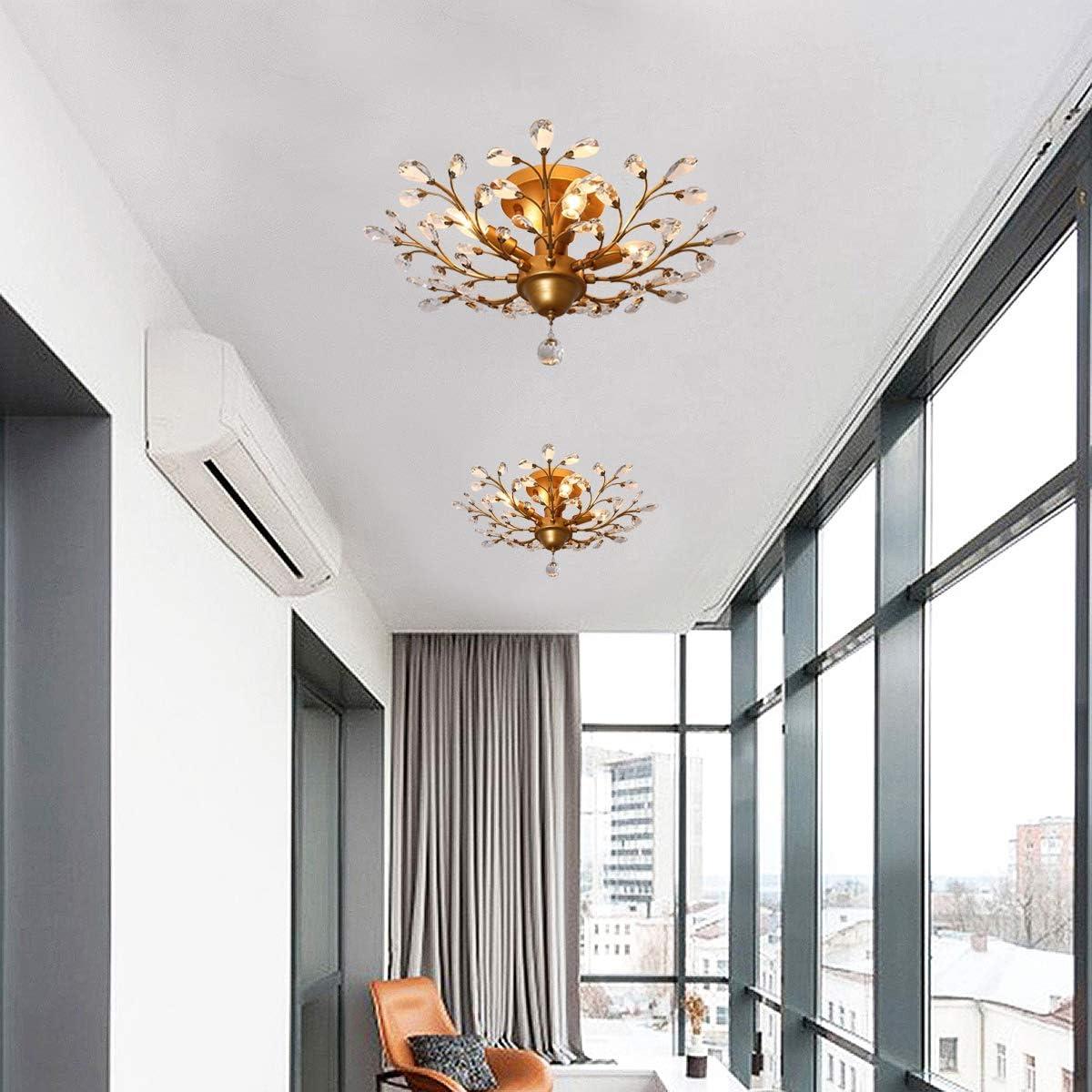 1-Light, Bronze LuFun Modern Crystal Chandeliers,Crystal Pendant Light,Chandelier Lighting Fixtures,Ceiling Light for Living Room Bedroom Restaurant Hallway