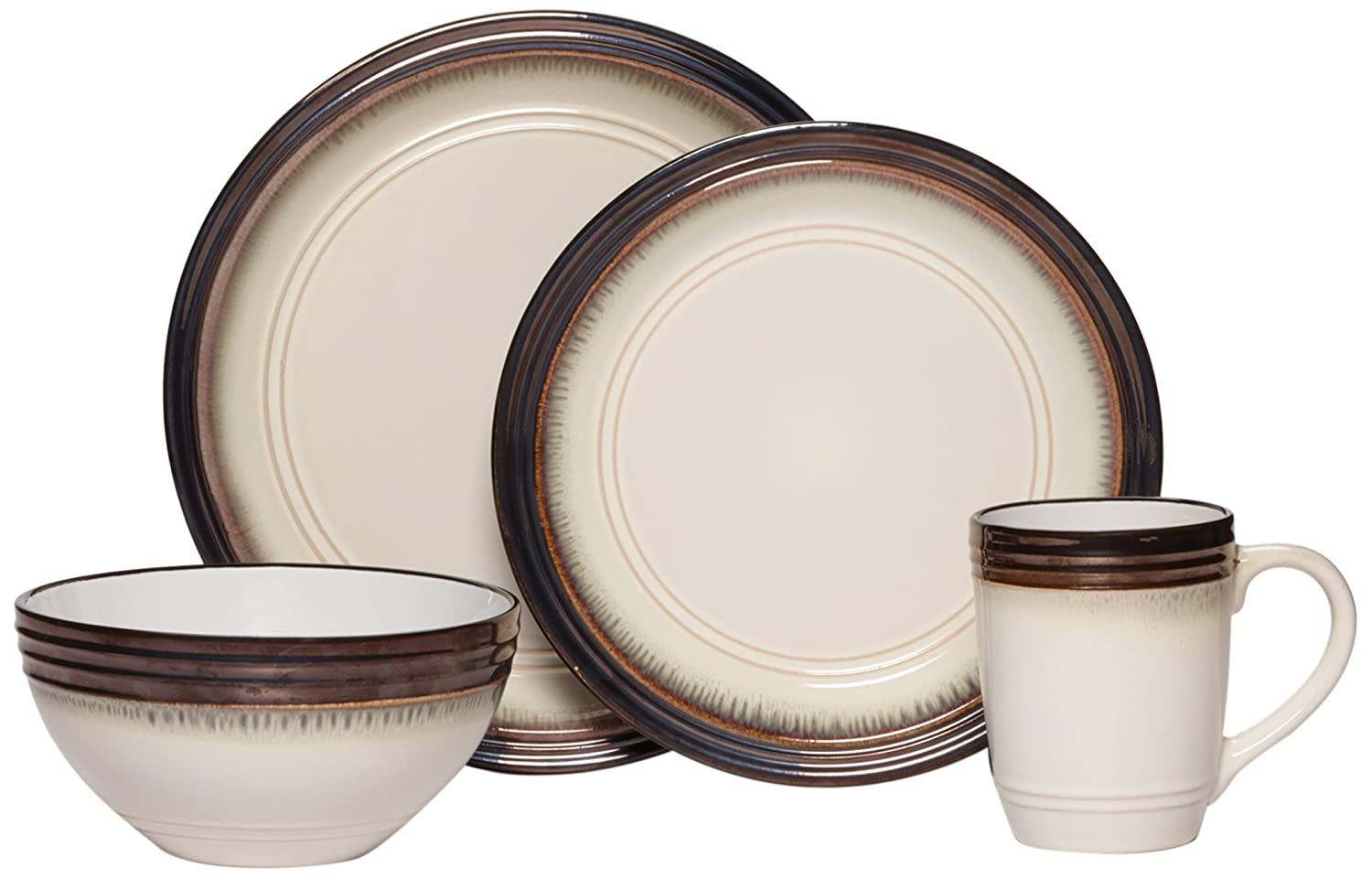 Amazon.com | Gourmet Basic by Mikasa Bailey 16-Piece Dinnerware Set Service for 4 Dinnerware Sets  sc 1 st  Amazon.com : gourmet basics by mikasa dinnerware - pezcame.com