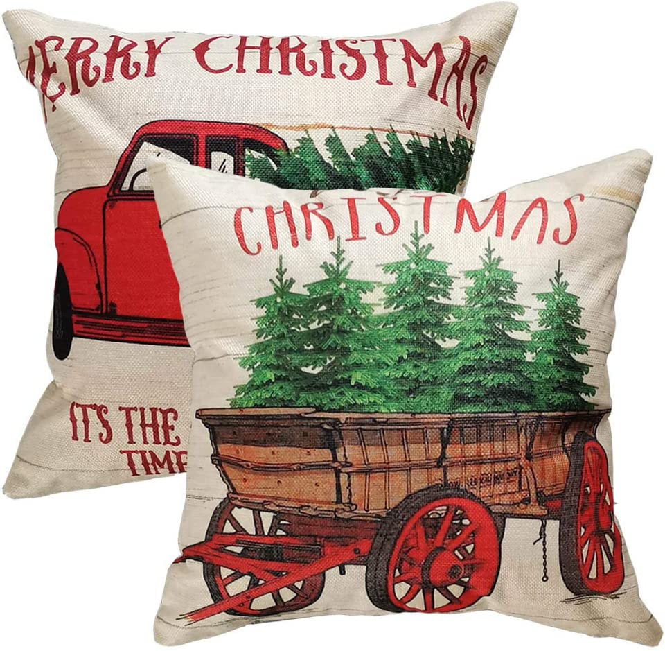 Christmas Pillow Covers 18 x 18 Inches Holiday Decoration with Red Vintage Truck Tree Pattern for Home Decoration Pillowcases Cushion (W/O Stuffing) – 2 Pack
