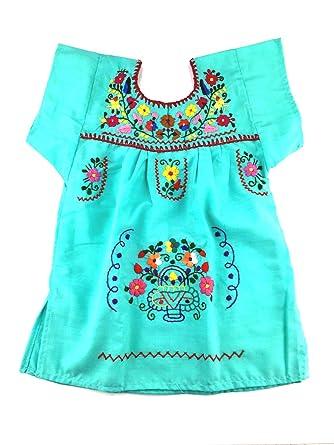 Vestido Mexicano Para Bebé Color Azul Menta 1 Vestido De