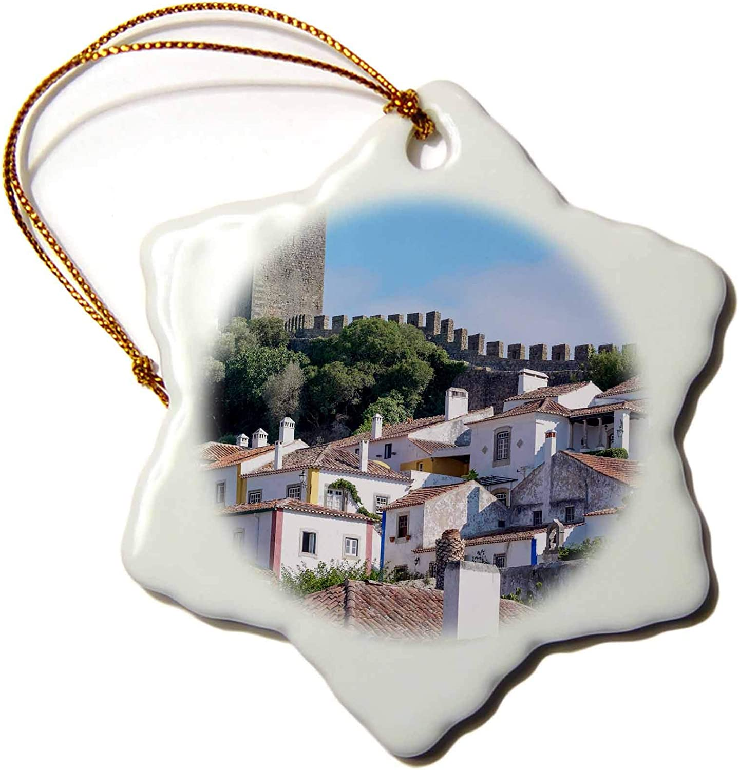 3dRose Portugal, Obidos, Ancient City Wall, Medieval Structure encircles. - Ornaments (ORN_249417_1)