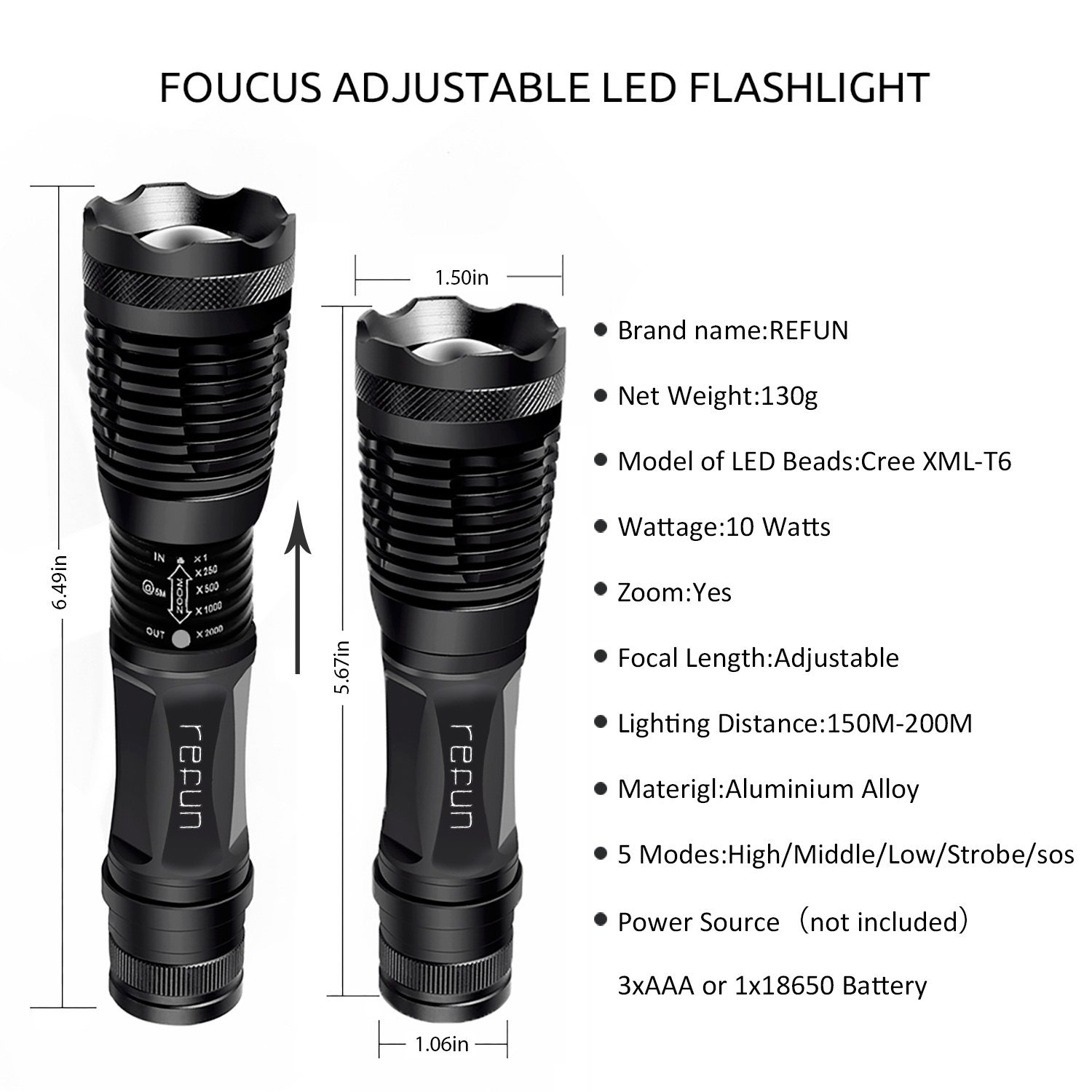 Refun E6 High Powered Tactical Led Flashlight, Ultra Bright LED ...