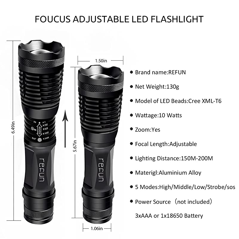 Refun E6 High Powered LED Flashlight, Ultra Bright Handheld Flashlight, Portable Outdoor Water Resistant Torch with Adjustable Focus and 5 Light Modes for Camping Hiking etc