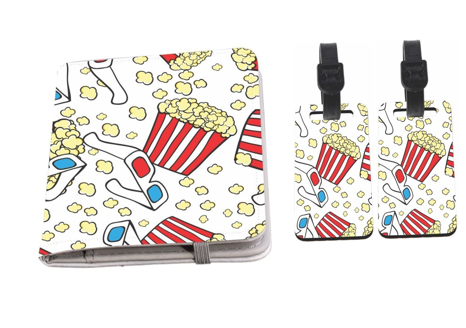 Rikki Knight 3D Popcorn and Glasses Design Passport Holder with slots for Travel documents with 2 matching (1-sided) Luggage Identifier Tags by Rikki Knight
