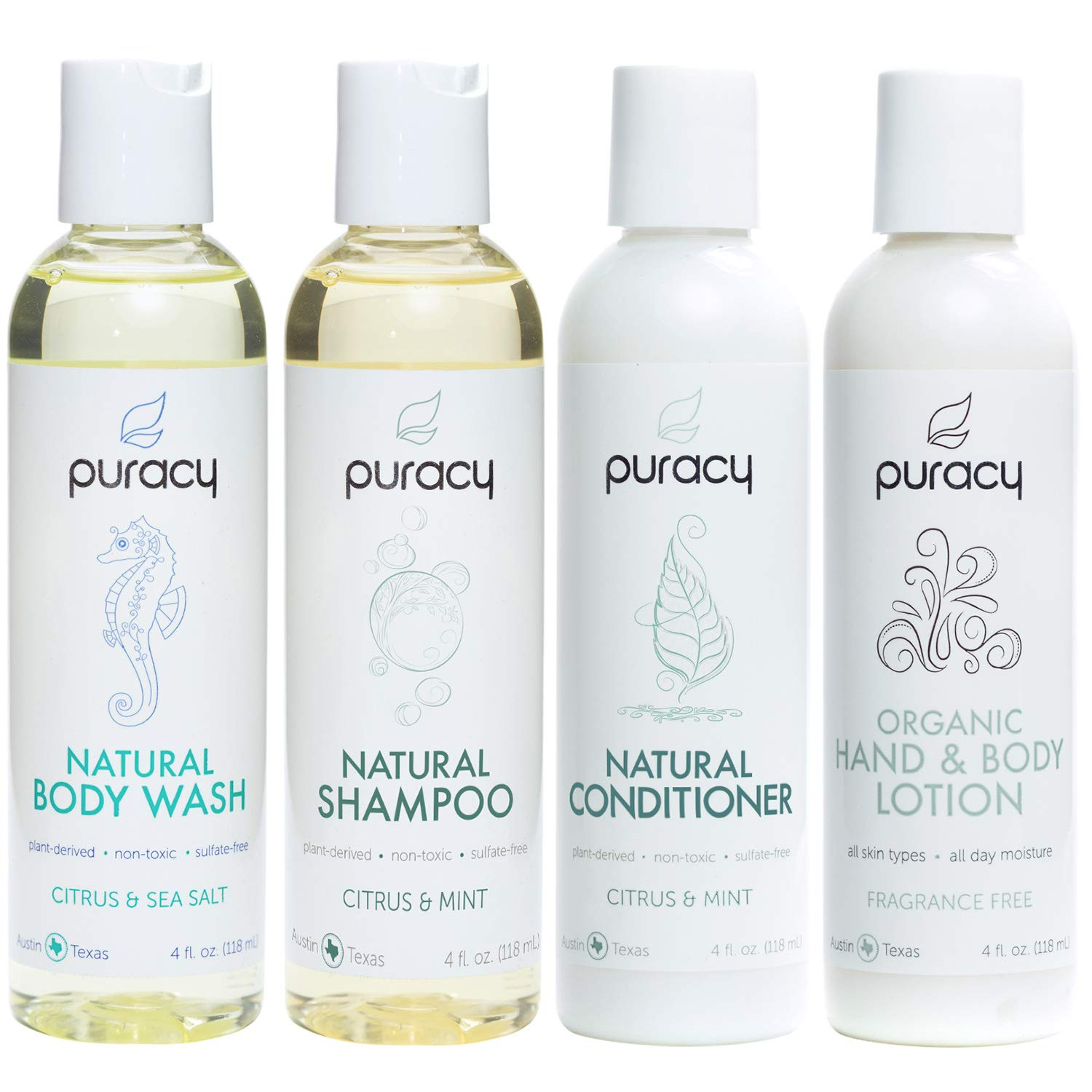 Puracy Organic Personal Care Travel Set (4-Pack), Natural Body Wash, Shampoo, Conditioner, Lotion Gift Box by Puracy