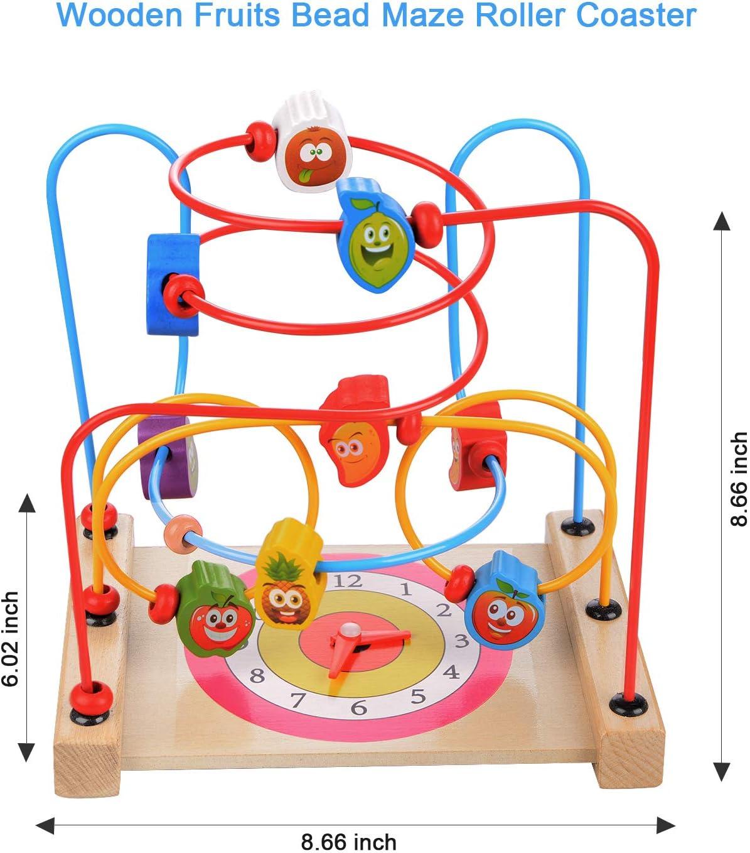 Moonvvin Perles en Bois Maze Roller Coaster Jouet /éducatif Math/ématique et b/âtonnets pour Apprendre Cube Bloquer Puzzles Jouets pour Enfants Tout-Petits Enfants gar/çons Filles