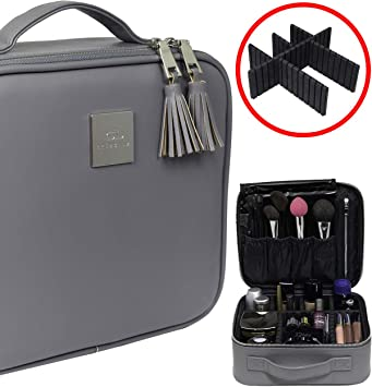 Professional Travel Makeup Bag - Waterproof PU Leather Organizer and Beauty Storage - Elegant Make Up