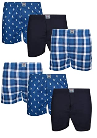 260681a3e861 U.S. Polo Assn. Men's Multipack Cotton Woven Boxers with Functional Fly (6  Pack) at Amazon Men's Clothing store: