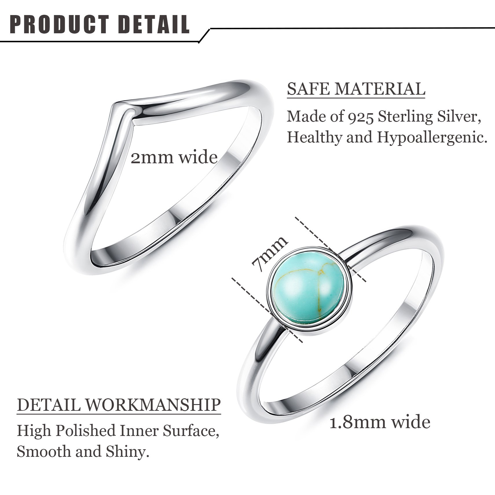 FUNRUN JEWELRY 2 PCS Sterling Silver Stackable Rings for Women Girls Chevron Thumb Turquoise Rings Set High Polish Size 9 by FUNRUN JEWELRY (Image #1)
