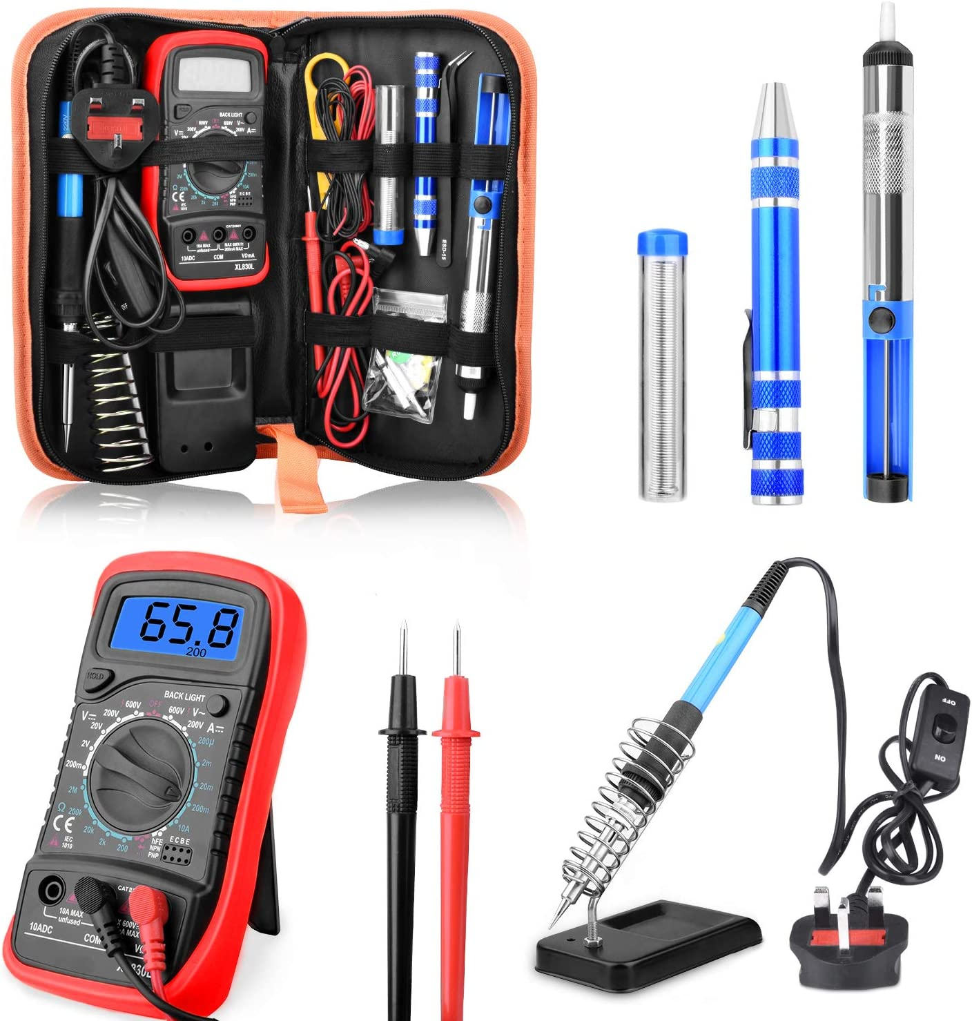 60W Soldering Iron Kit Electronics Welding Tool Adjustable Temperature UK