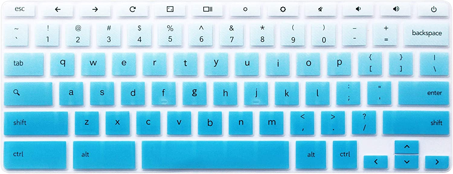 Silicone Keyboard Cover Skin Compatible for 11.6 inch Samsung Chromebook 3 XE500C13 XE501C13, 11.6 inch Samsung Chromebook 2 XE500C12, 12.2 inch Samsung Chromebook Plus V2 2-in-1 XE520QAB (Ombre Blue)
