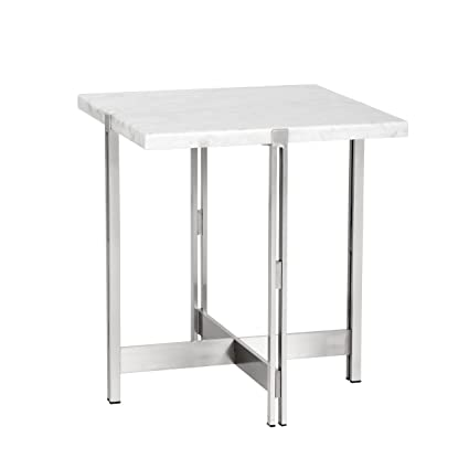 Amazoncom Sunpan Modern Enzo End Table White Marble Kitchen Dining