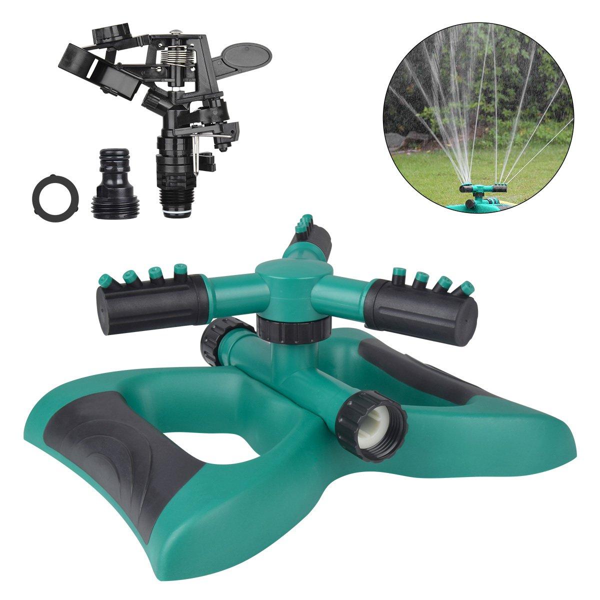 TZCER Lawn Sprinkler 360 Degree Automatic Rotating Sprinkler Head Adjustable Sprinklers for Garden,Lawns Irrigation System 3 Arm Sprayer Water Sprinklers 3600 SQ FT Coverage Impact Sprinkler