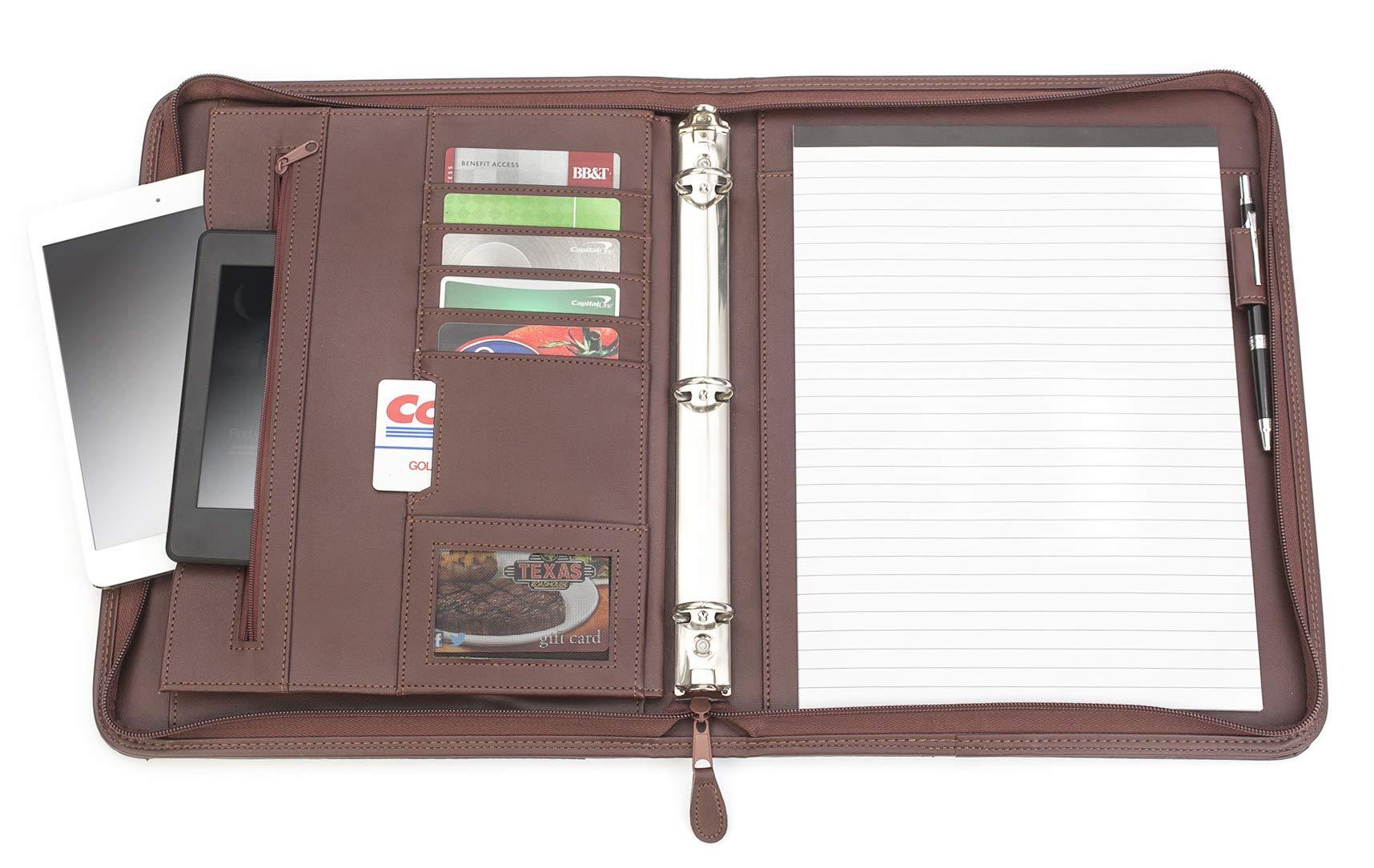 Professional Executive PU Leather Business Resume Portfolio Padfolio Case Organizer with iPad Mini or Tablet Sleeve Holder, Zippered Binder, Paper Pad, Card Holders, Document Folder - Black