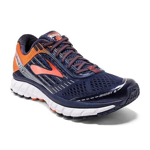 Brooks Men's Ghost 9 Running Shoes, Peacoat/Red Orange/Black (15)