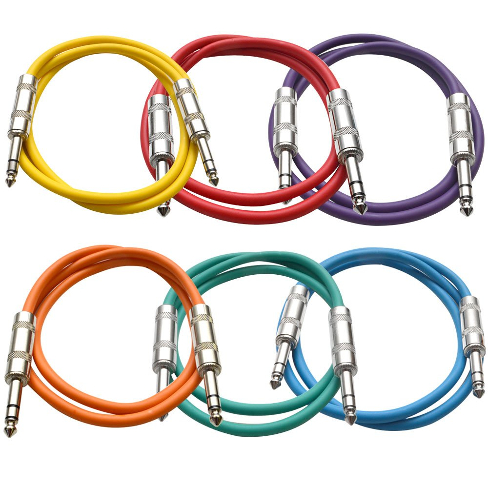 SEISMIC AUDIO - SATRX-3-6 Pack of Muliple Colored 3' 1/4'' TRS to 1/4'' TRS Patch Cables