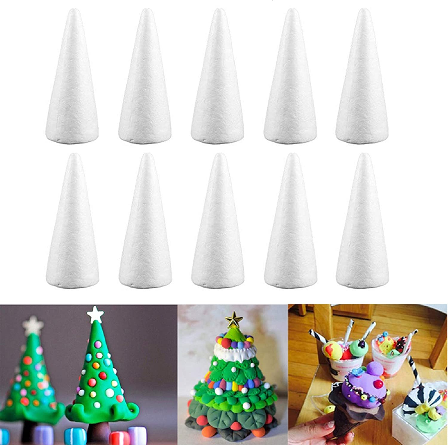 Table Centerpiece Cone Shape Foam 16 Pieces White Foam Cones Arts and Crafts Supplies for Home DIY Handmade Crafts Projects Christmas Tree