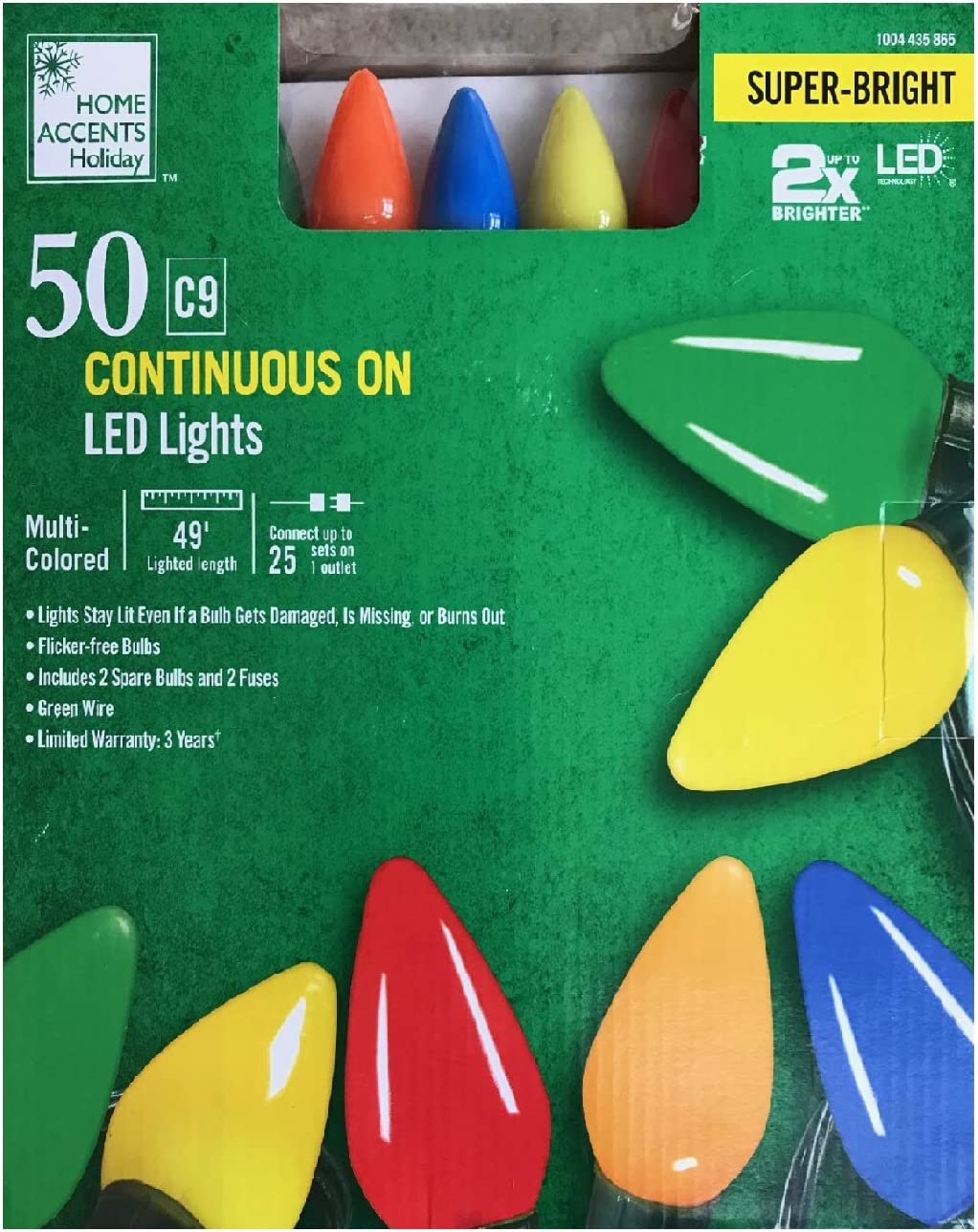 Home Accents Holiday 50 C9 Continuous On LED Light - Multi-Colored (Translucent)