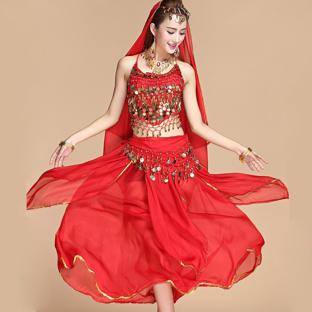 Wanson Professional Lady Belly Dance Costumes Sets Indian Dance Dress Performance Dress National Dance Red 5Piece Set