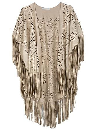 e0f1b2a62 PERSUN Women's Faux Suede Kimono Cape Fringed Asymmetric Cover up Shawl  Beige