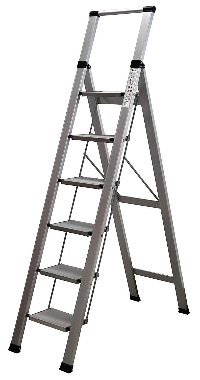 Homelux 710029 Escalera Domestica Plana Aluminio 6 Pelda/ños