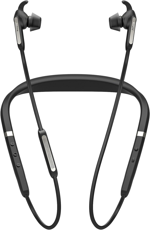 Jabra Elite 65e Alexa Built-In Wireless Stereo Neckband with In-Ear Noise Cancellation – Titanium Black