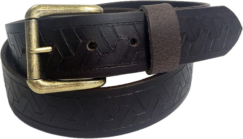 Mens Handmade Genuine Solid Geometric Weave Embossed Buffalo Leather Belt 1.5