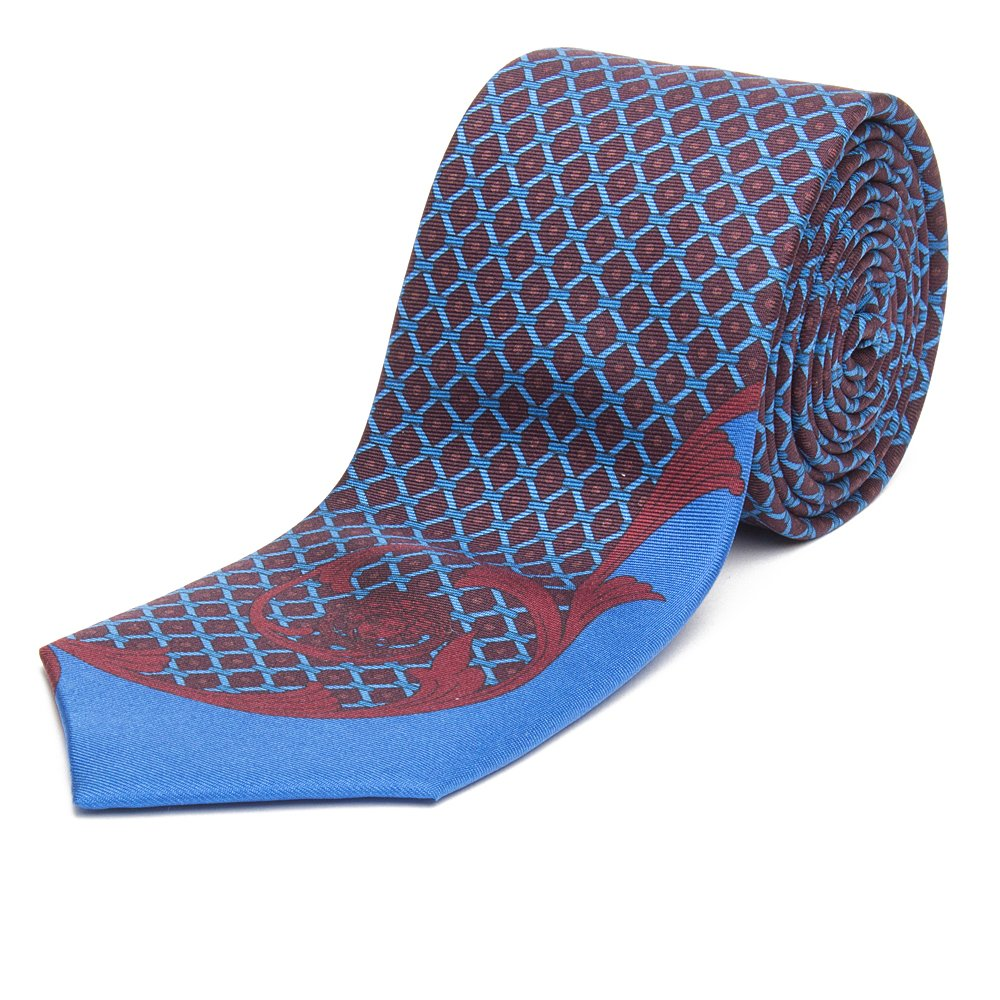 Gianni Versace Men's Red-Light Blue Italian Silk Tie 1CRV701-01171-I7388