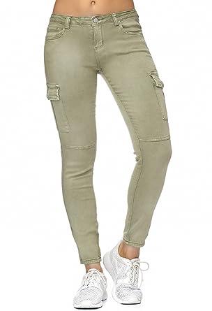 Damen Cargo Jeans Röhrenjeans Hose Hüftjeans Stretch in blau